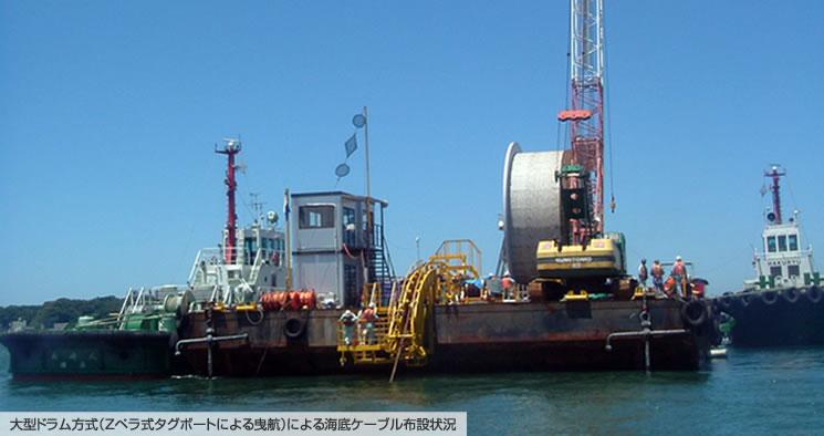 大型ドラム方式(Zペラ式タグボートによる曳航)による海底ケーブル布設状況