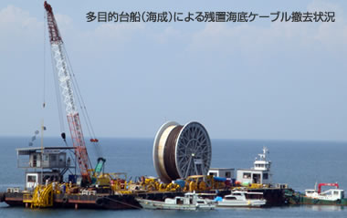 残置海底ケーブル撤去(回収)工事